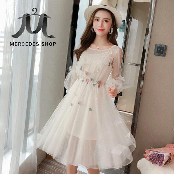 《全店75折》韓國網紗燈籠袖手工立體花朵刺繡兩件套連身裙洋裝(S-XL,2色)-梅西蒂絲(現貨+預購)
