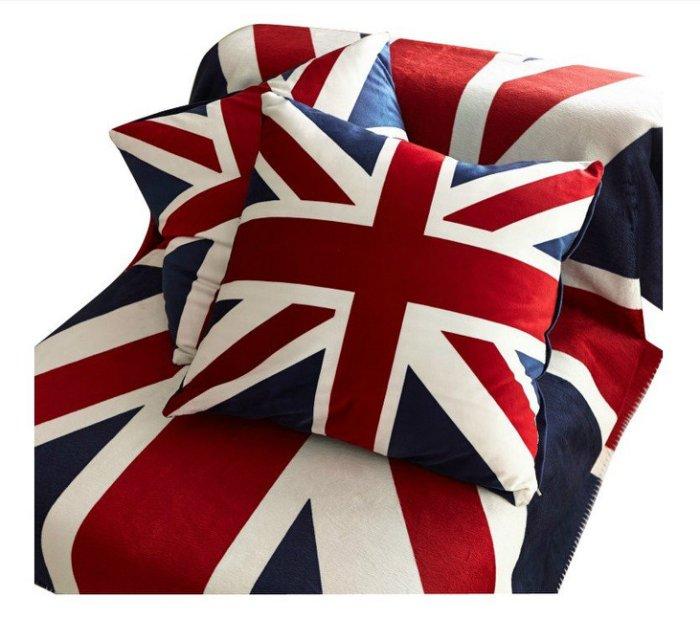 寰宇歐洲風 大不列顛日不落風格 42*42英國國旗天鵝絨抱枕/(枕套+枕芯)