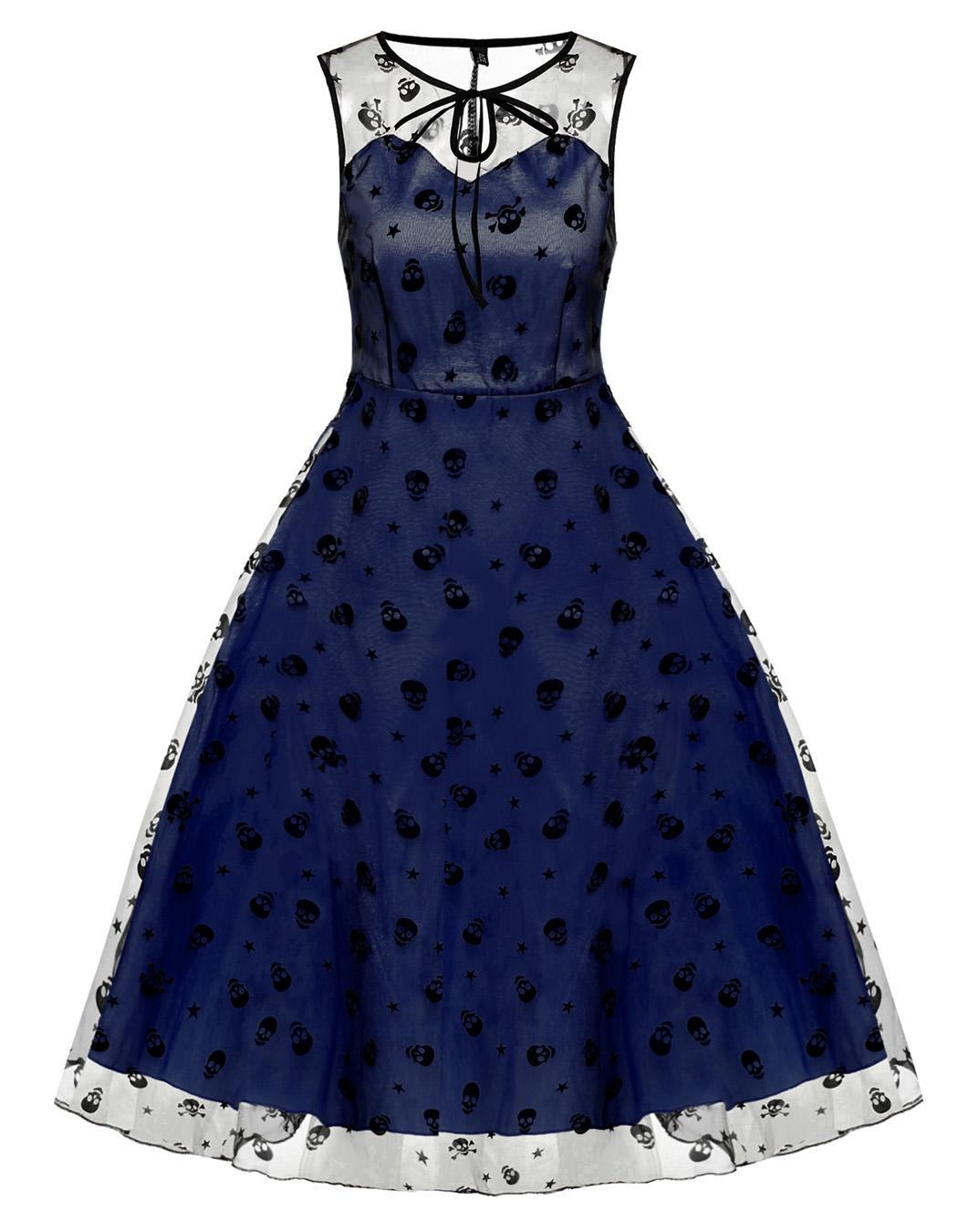 Retro Women Vintage Style Sleeveless Mesh Embroidery Long Party Cocktail Dress 0