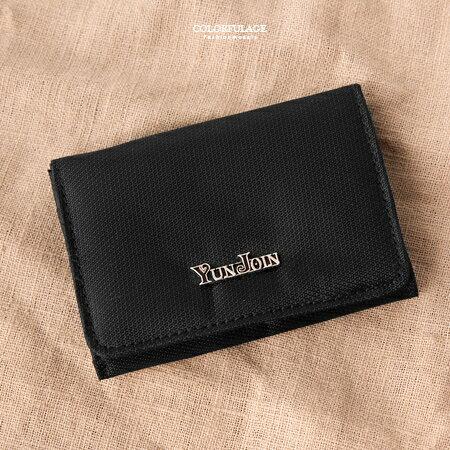零錢包 沉穩黑色翻式零錢包  卡片夾 貼心收納小 輕巧耐髒 柒彩年代~NW452~可放照片