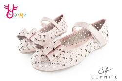 女童娃娃鞋 質感珍珠鑽手工雕紋 花童鞋 中大童 CONNIFE專櫃C2403#粉紅◆OSOME奧森鞋業
