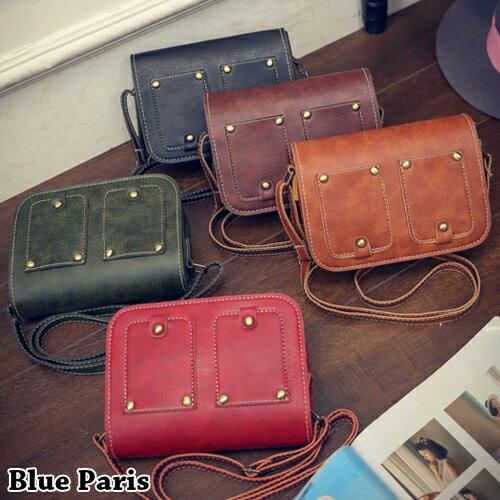 包包 - 復古風前小口袋造型側背包【21558】 藍色巴黎《5色》現貨+預購 0