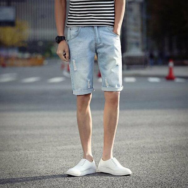 超殺優惠牛仔短褲淺色藍破壞牛仔短褲FINDSENSE原廠供應另提供加大男牛仔褲短褲