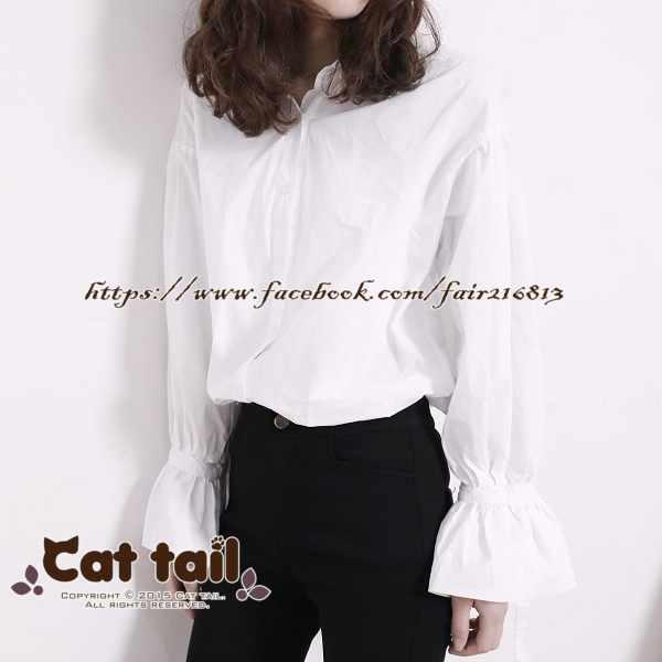 《貓尾巴》LZ-02910簡約翻領氣質長袖襯衫(森林系日系棉麻文青清新)