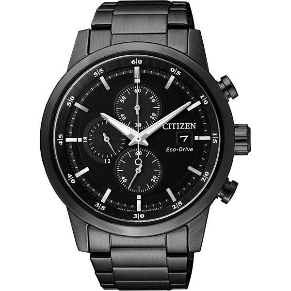 大高雄鐘錶城:CITIZEN星辰CA0615-59E極黑時尚光動能計時腕錶黑面41mm