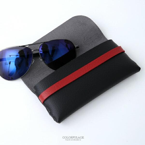 眼鏡盒質感黑紅軟皮革眼鏡包柒彩年代【NYB11】