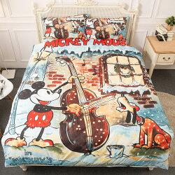 【名流寢飾家居館】迪士尼米奇.冬季協奏曲.特大雙人床包組薄被套全套