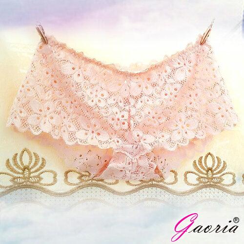 情趣用品-買就送潤滑液隨身包【Gaoria】想入非非一片式蕾絲款冰絲無痕內褲杏色T-045
