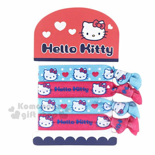 〔小禮堂〕Hello Kitty 綁式彈力髮束~4入.紅藍.點點.大臉.寬版~髮圈