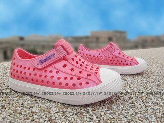 Shoestw【86708NPNK】SKECHERS 小童鞋 涼鞋 防水鞋 桃紅 金蔥 女生 夏天必備