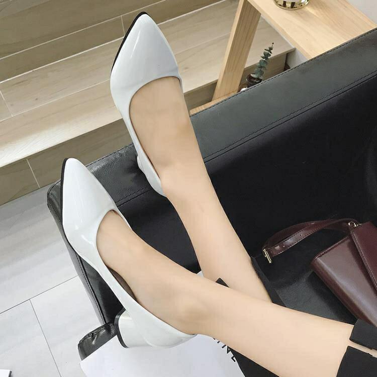 淺口中跟尖頭單鞋女新品百搭正韓粗跟漆皮職業工作皮鞋四季鞋【限時八折】