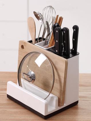 多功能刀架砧板壹體廚房用品收納置物架放菜板筷子鍋蓋刀具的盒子