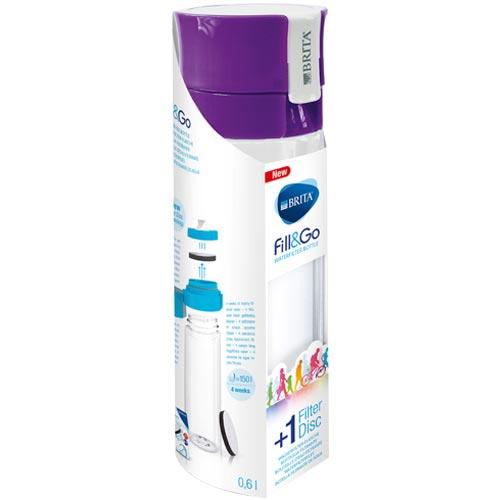 德國 BRITA Fill&Go 隨身濾水瓶 0.6L 紫色 (內含濾片 1片)