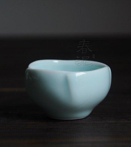 青釉花瓣茶杯折 功夫茶杯 陶瓷茶杯 【春泥陶藝】