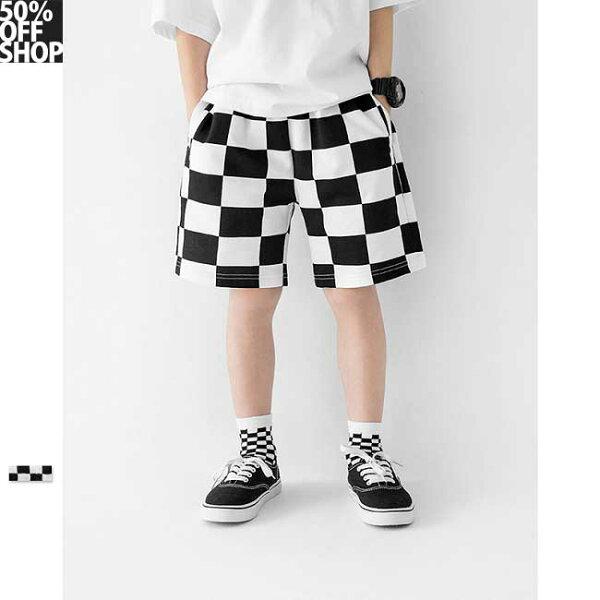 50%OFFSHOP棋盤格美式街頭童裝短褲【SS-01AG036573P】