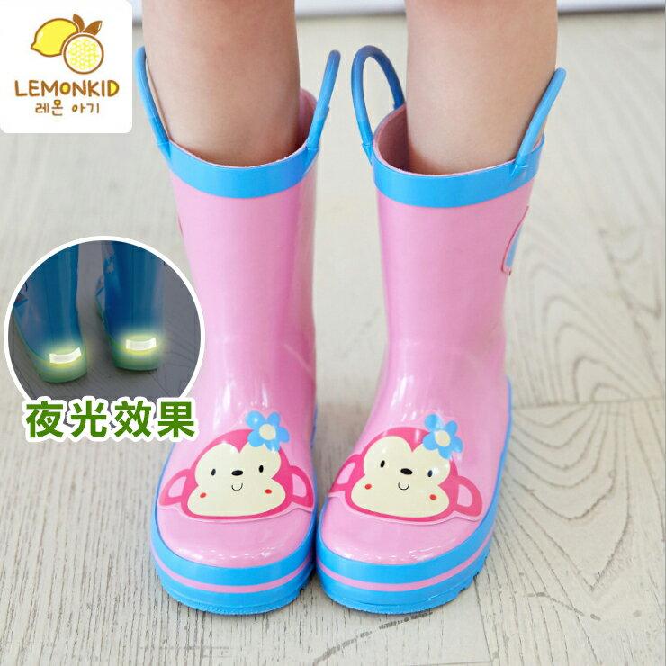 Lemonkid◆活力小花猴子安全夜光設計手提式提環橡膠兒童雨鞋-粉色
