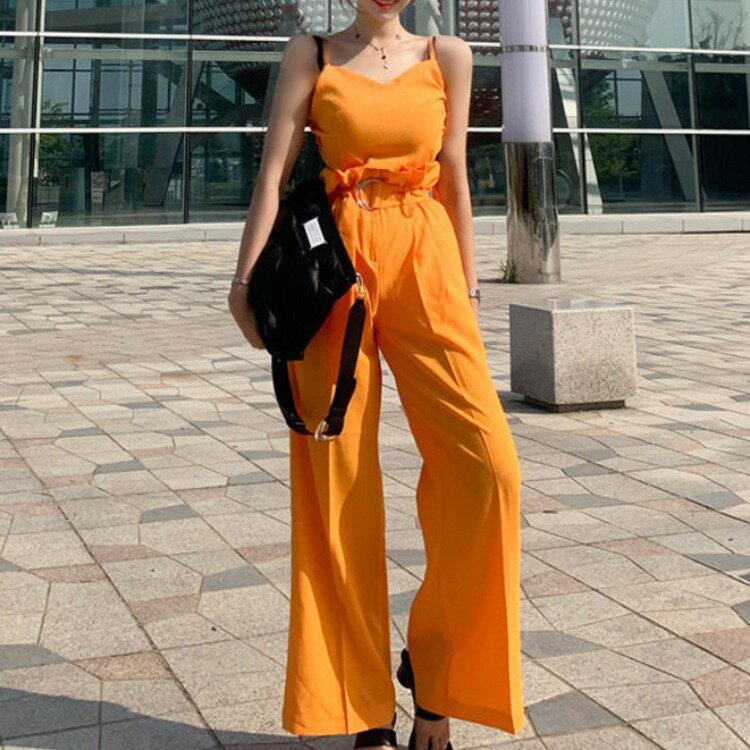 新款兩件套2020夏裝韓版氣質吊帶上衣休閒高腰闊腿褲套裝女