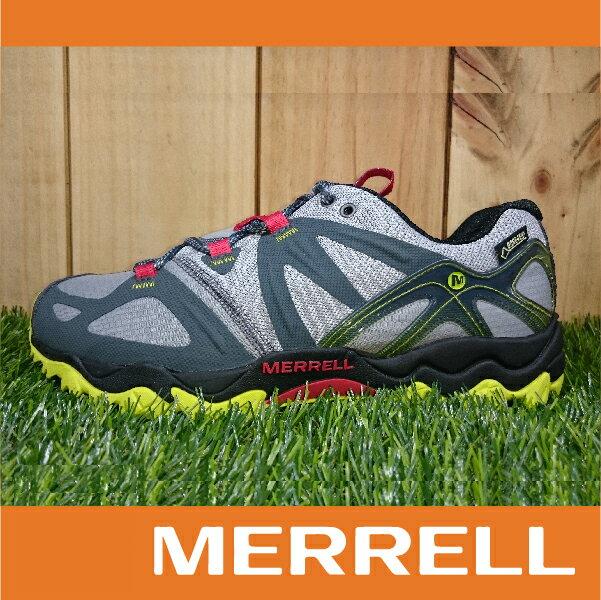 【零碼75折】MERRELL GRASSBOW GORE-TEX防水 男款低筒登山健行鞋 抓地大底 灰黃紅 萬特戶外運動