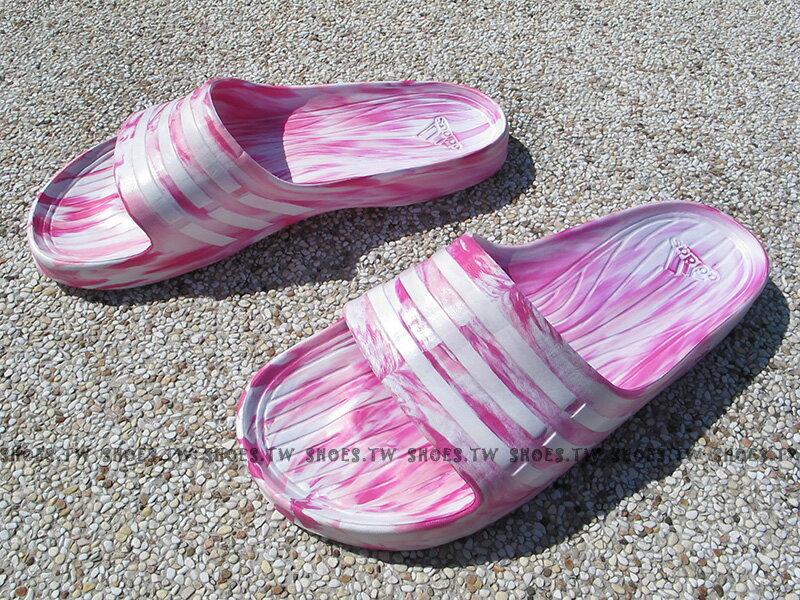 Shoestw【S77983】ADIDAS DURAMO SLIDE 拖鞋 一體成型 粉紅迷彩 草莓 女款 窄版