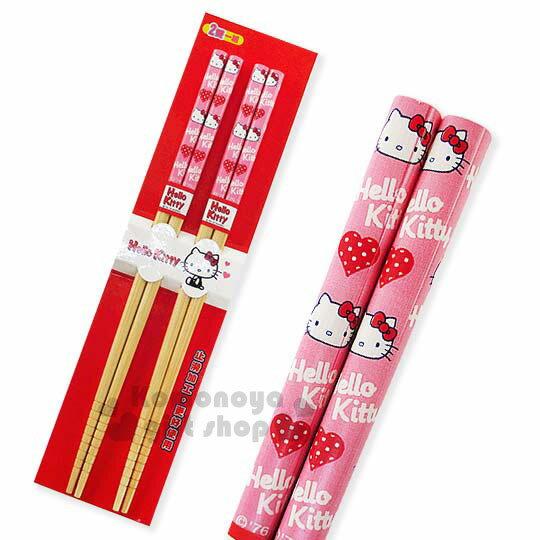 〔小禮堂〕Hello Kitty 料理竹筷組《兩雙入.粉.點點愛心.大臉》前端止滑設計
