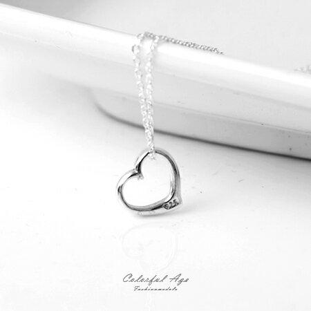 925純銀項鍊 鏤空小巧愛心造型頸鍊短鍊 甜美又時尚 抗過敏設計 柒彩年代【NPB23】