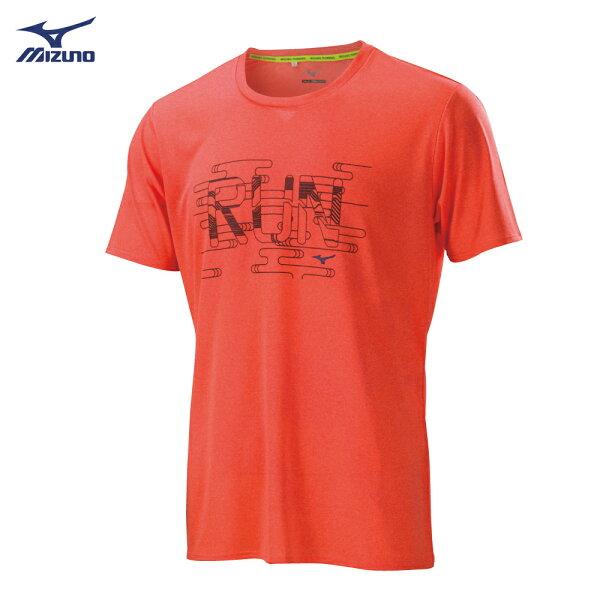 J2TA800353(亮橘紅)路跑短袖T恤【美津濃MIZUNO】