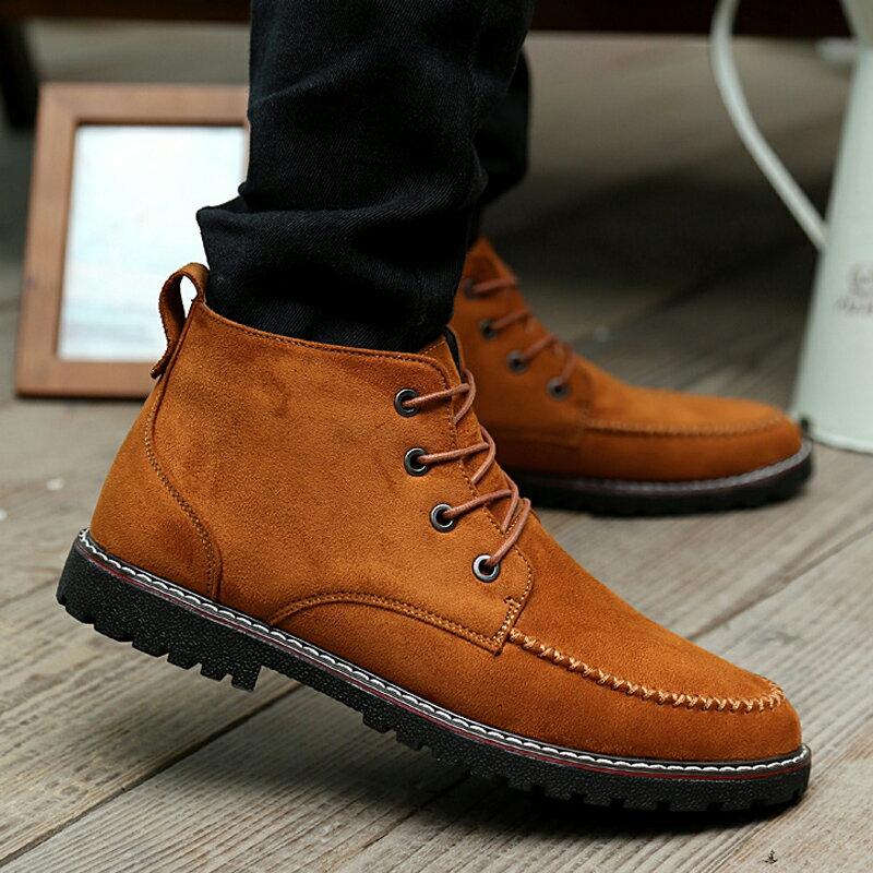馬丁靴 馬丁短靴 秋冬季馬丁靴工裝短靴軍靴男靴潮流百搭英倫皮鞋高幫保暖棉鞋男鞋【xy1637】