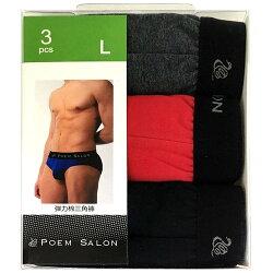 POEM SALON 彈力棉三角褲(PS3371-1) L (3入)/盒 隨機