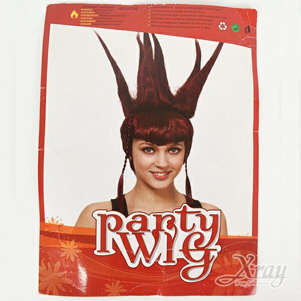 X射線【W030007】假髮-GAGA(紅衝),萬聖節尾牙PARTY變裝化妝舞會表演