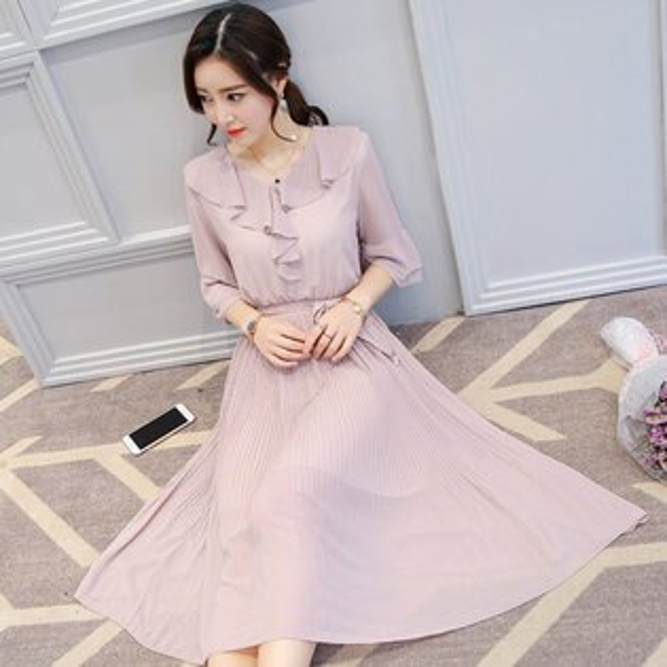 FINDSENSE G5 韓國時尚 夏季 新款 荷葉領 喇叭袖 百褶裙 甜美 優雅 中長款 雪紡 連身裙
