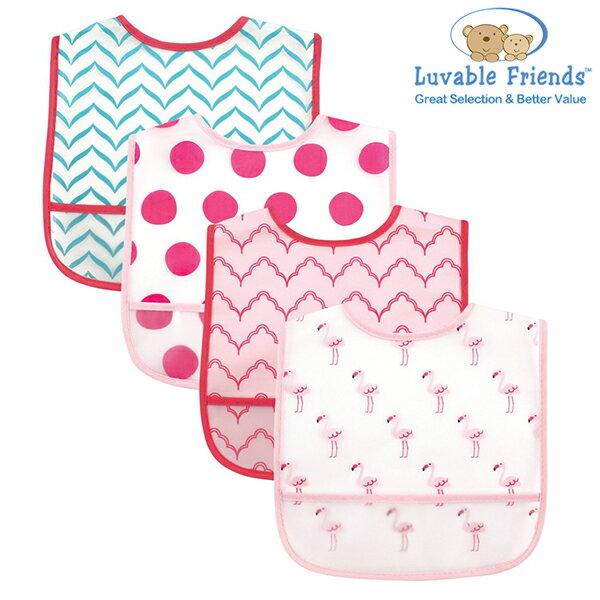 美國 Hudson Baby/Luvable Friends 嬰幼用品 防水圍兜兜 (四件組) - 粉紅小鶴