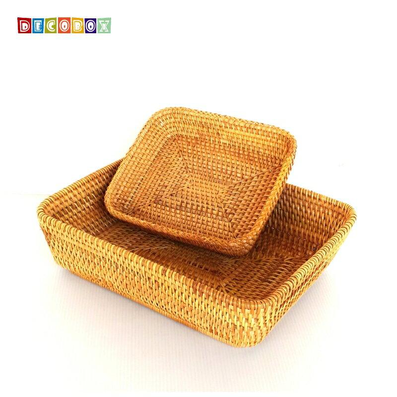 DecoBox藤編大長方茶點盤(茶道,藤編包) 6