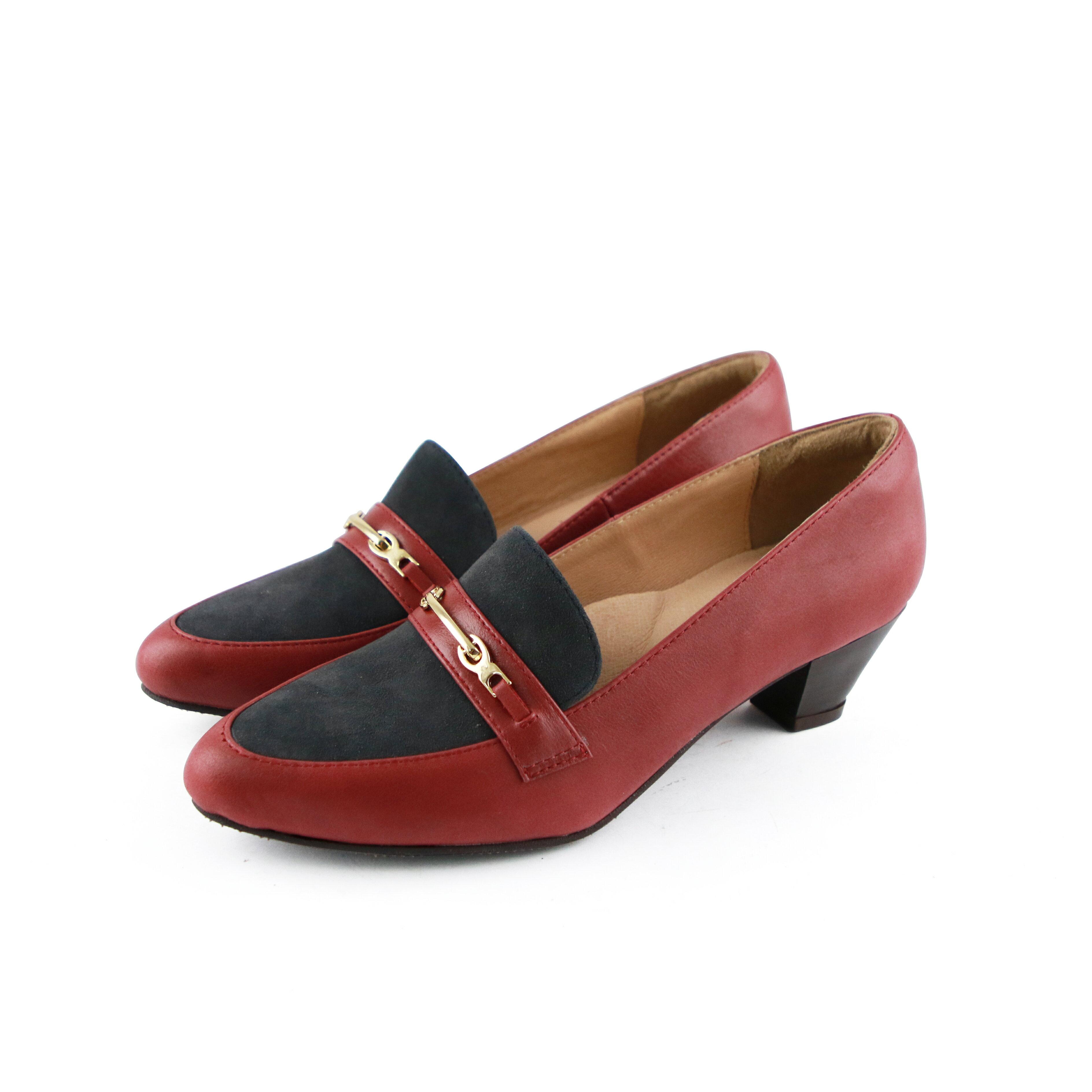 【P2-19131L】飾扣真皮樂福跟鞋_Shoes Party 5