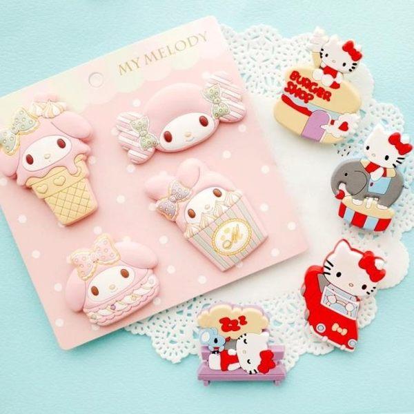 文件夾-超萌美樂蒂 Hello Kitty美味甜點系列矽膠造型夾(一組超值4入) 零食夾 書籤 小夾子