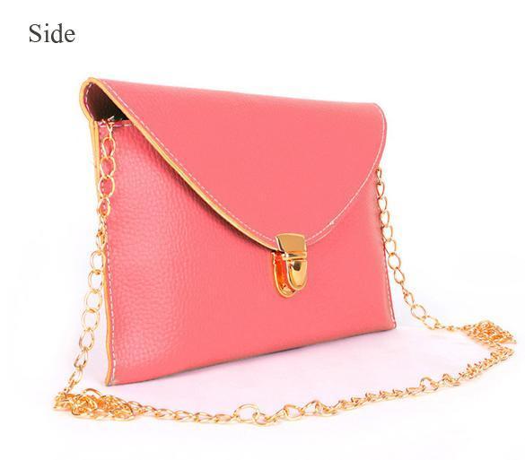 Women Synthetic Leather Golden Chain Envelope Purse Clutch Handbag 4