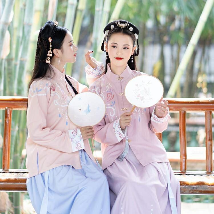 夯貨折扣 日常中國風漢服女裝立領雙層對襟上襖印花襖裙閨蜜基友改良款洋裝