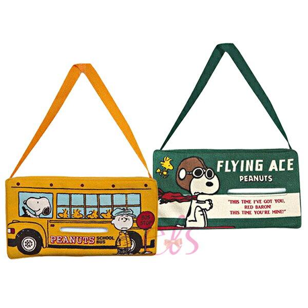 日本 史努比SNOOPY 美國學園校車(黃色)/飛行員(綠色) 車用吊掛式 面紙盒套 兩款供選 ☆艾莉莎ELS☆