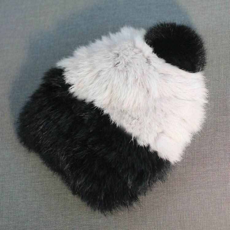 保暖女士兔毛皮草帽子 拼色兔毛帽毛線帽子女秋冬韓版1入