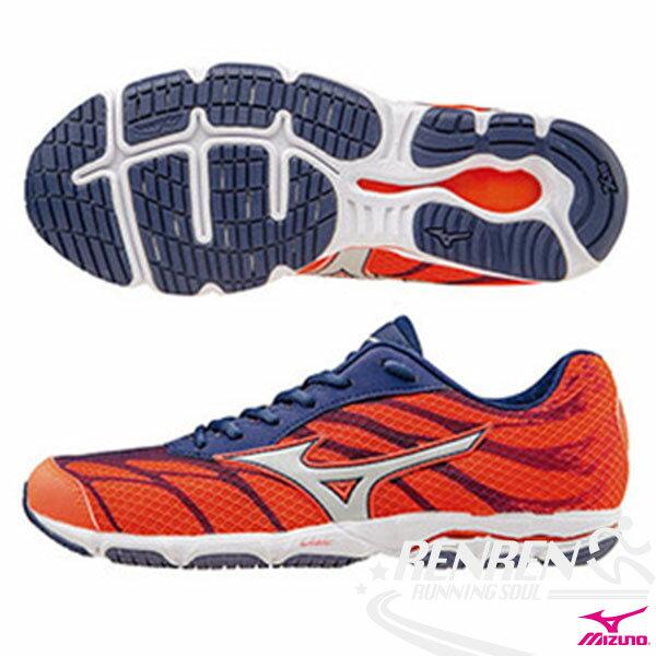 MIZUNO美津濃 WAVE HITOGAMI 3 輕量女路跑鞋 (橘*銀白)