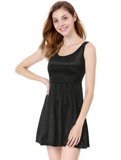 Unique Bargains Women's Sleeveless Open Backless Velvet Dresses Black (Size M / 8) cb97776804f35178daf7c882355ef6f4