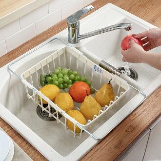 伸縮洗碗槽瀝水架 蔬果瀝水架 碗盤瀝水架 (不挑色) MIX89891