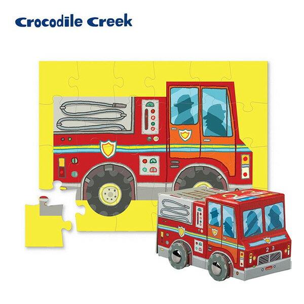 ~美國Crocodile Creek~迷你 盒學習拼圖~消防車 24片