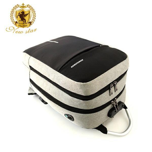 防水雙層密碼鎖防盜充電後背包包(可掛行李箱) NEW STAR BK259 4