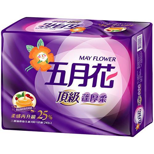 五月花頂級蓬厚柔三層抽取衛生紙110抽24包【愛買】