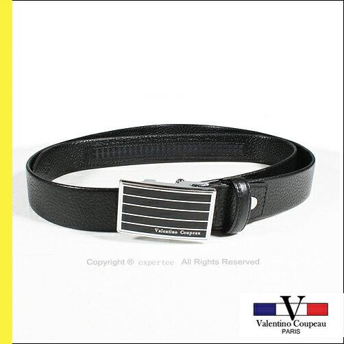 請先詢問庫存【騷包館】Valentino范倫鐵諾 法國品牌 黑格荔枝牛皮紋自動皮帶 VV-127-1