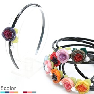 BHI1089-法國品牌RenaChris 超漂亮珍珠立體玫瑰花髮圈 髮箍【韓國製】