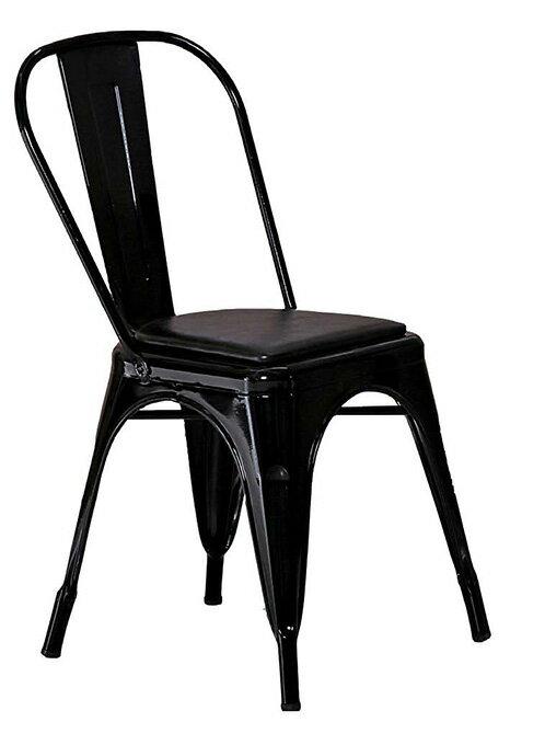 ~ 尚品傢俱~JF~487~3 強尼黑色皮面餐椅