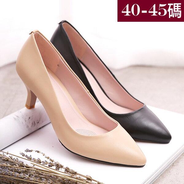 大 女鞋~魅惑 風牛皮尖頭高跟鞋40~45碼~JBHB522❤172巷鞋舖~