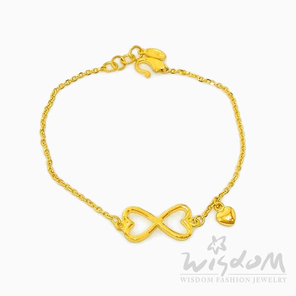 威世登 黃金心型手鍊 金重約1.30~1.33錢 GC01014-ABXX-FIX