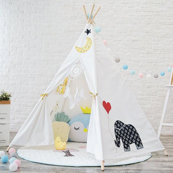 韓國可愛大象月亮星星純棉寶寶帳篷寶寶嬰兒遊戲屋野餐帳篷野餐墊兒童拍攝道具